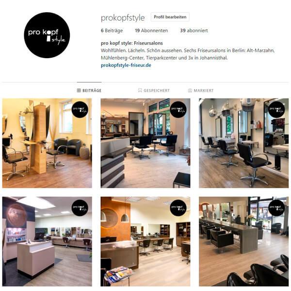 Social Media Instagram: pro kopf style Posts