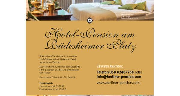 bb BERLIN Portfolio: Hotel-Pension am Rüdesheimer Platz: Plakat