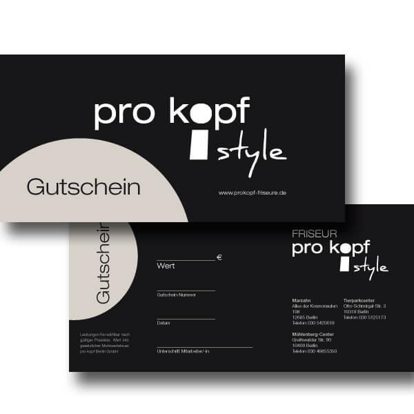bb BERLIN Portfolio Markenauftritte: pro kopf style Gutschein