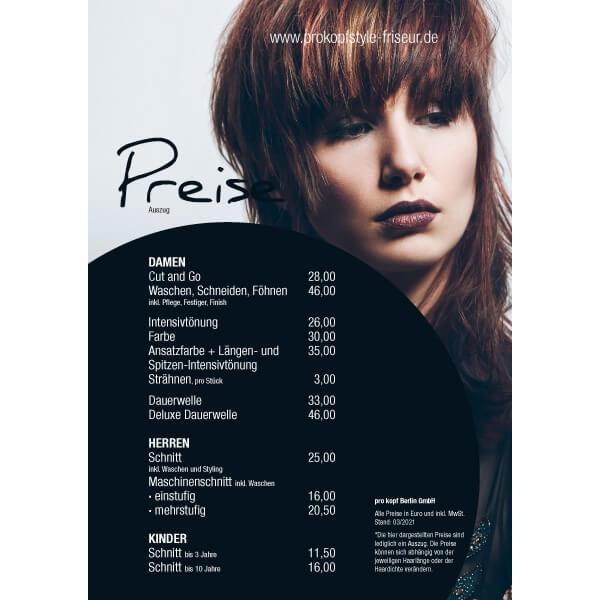 bb BERLIN Portfolio Markenauftritte: pro kopf style Preisliste