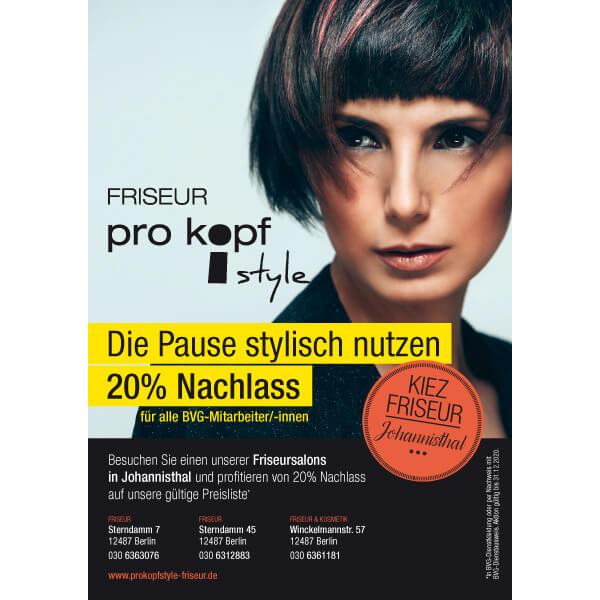 bb BERLIN Portfolio Markenauftritte: pro kopf style Rabattaktion