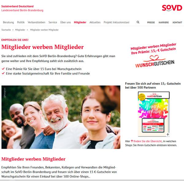 bb BERLIN Portfolio: SoVD Berlin-Brandenburg - Kampagne Mitglieder werben Mitglieder - Landingpage