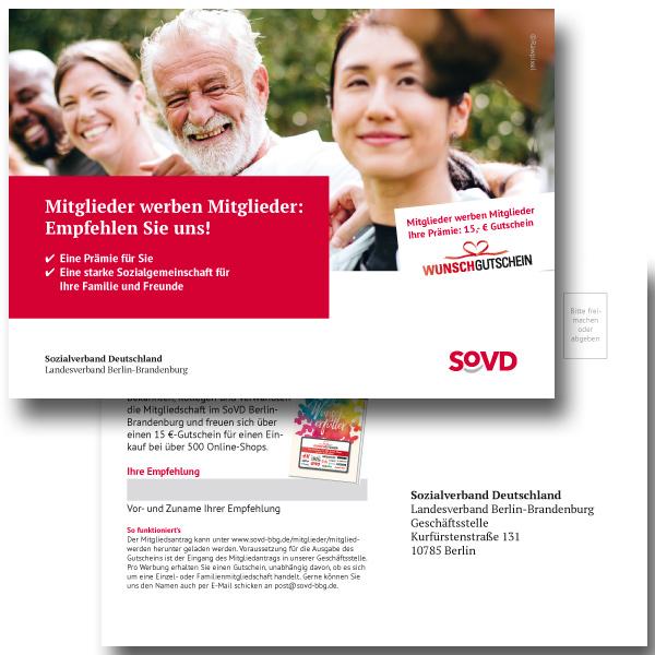 bb BERLIN Portfolio: SoVD Berlin-Brandenburg - Kampagne Mitglieder werben Mitglieder - Postkarte