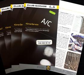 Club-Garage Mehrmarkenwerkstatt: Flyer Klima-Service