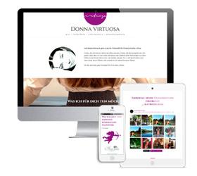 Website der Bloggerin donnavirtuosa.de - dargestellt auf drei Monitorgrößen