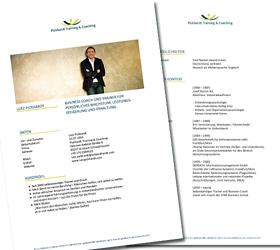 Lutz Pickhardt: Business Coach und Trainer. Profil - umgesetzt in Word.
