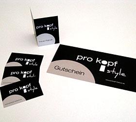 Markenauftritt für den Friseursalon pro kopf style: Terminkarten, Gutscheine und Treue-Rabatt-Karten