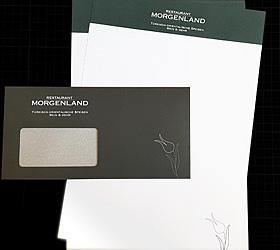 Restaurant Morgenland: Relaunch Werbemittel. Blanko-Briefbogen mit Fenster-Kuvert.