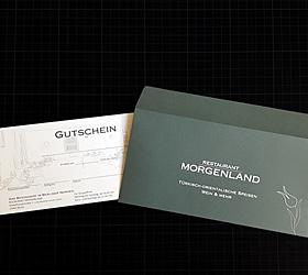 Restaurant Morgenland: Relaunch Werbemittel. Gutschein mit Kuvert.