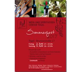 WEIN UND SPIRITUOSEN CENTER TEGEL: Veranstaltungsplakat für das Sommerfest 2017