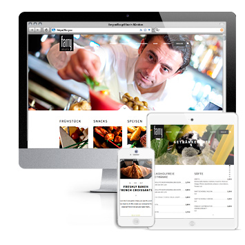 farry coffee grill bar: Screenshots des Webauftritts des Lokals in München.