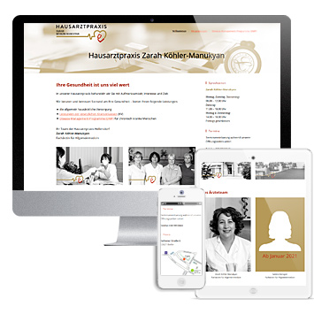 Hausarztpraxis Zarah Köhler-Manukyan: Screenshots Website hausarztpraxis-hellersdorf.de auf verschiedenen Devices