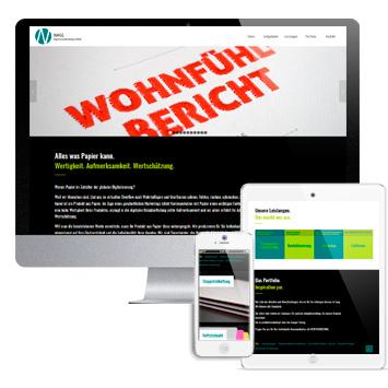Website Nagl Papierverarbeitung: Screenshots Website auf verschiedenen Devices