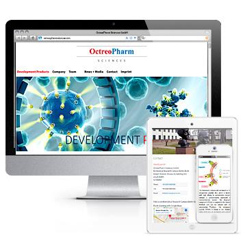 Screenshots der Responsive-Website von octreopharmsciences.com