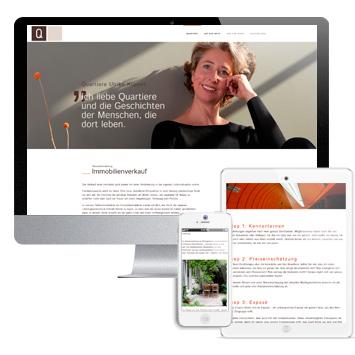 Website quartiere-immobilien.de: Screenshots auf verschiedenen Devices
